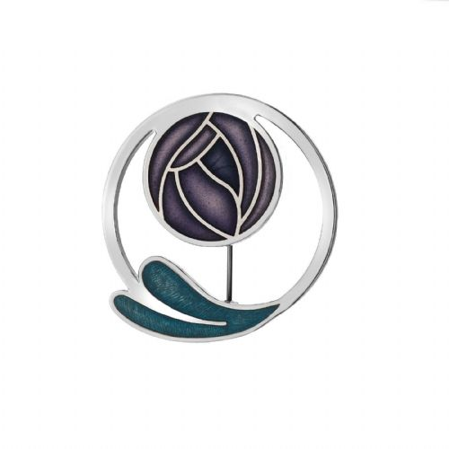 Mackintosh Purple Rose Brooch Coiled Leaf Silver Plated Brand New Gift Packaging